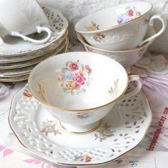 2 vintage teacups and saucers german porcelain by minoucbrocante