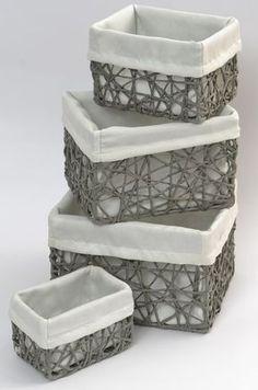 Upcycled Crafts, Diy Home Crafts, Craft Stick Crafts, Easy Crafts, Fabric Storage Bins, Fabric Bins, Seagrass Storage Baskets, Framed Fabric, Basket Shelves