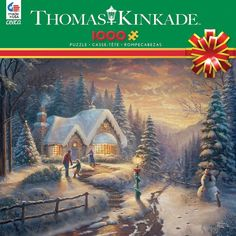 THOMAS KINKADE HOLIDAY PUZZLE COUNTRY CHRISTMAS HOMECOMING #3328-28 #Ceaco
