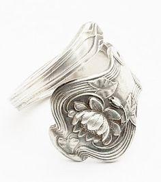 Art nouveau silver spoon ring