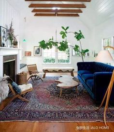 gorgeous living room with blue velvet couch and exposed beams.