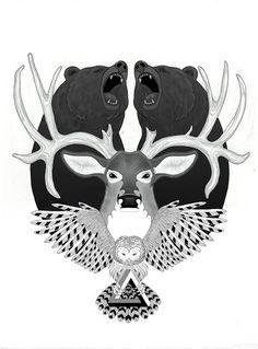 bear and deer tattoo