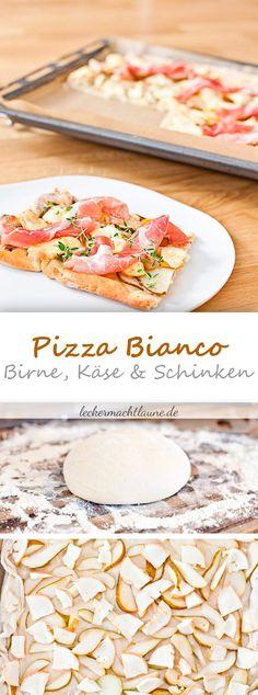 Pizza bianco  – mit Birne, Käse und Schinken