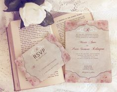 French Floral Shabby Chic Wedding Invitations  by DaysGoneDesign