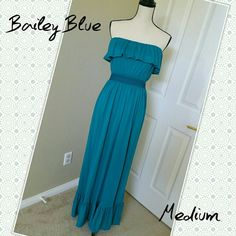 "SALE! Strapless Maxi Dress Sundress BaileyBlue  SALE! • PRICE REDUCED!  * Strapless maxi dress by BaileyBlue. Teal blue-green color. Ruffled top and bottom. Elastic above bust and at waist keeps it in place. * Medium, equivalent to a size 8 (IMO).  * 51"" length, stretches to 34"" bust and 30"" waist. * 68% polyester, 28% rayon, 4% spandex * Good used condition. Some pilling on fabric. BaileyBlue Dresses Maxi"