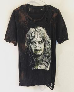 The Exorcist distressed horror movie t shirt from Chad Cherry Clothing. Ninja Japan, Horror Movie T Shirts, Vintage, Trending Outfits, Etsy, Mens Tops, Shadows, Clothes, Cherry