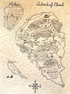 Photo: Map of the Island of Chord. I just finished inking the outline. Next I am gonna break out the colored pencils. The Island of Chord is my fantasy world. It is an Island surrounded by a magical mist, (actually a rift in the astral plane) the mist moves around to different planes of existence. So travelers who enter the mist sometimes arrive at the Island of Chord, a place that does not even exist on their world. (bermuda triangle anyone?) As a result you run into many strange…