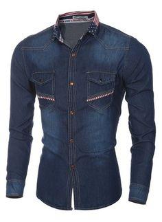 Camisa en Jeans Moderna Cuello Mandarín con Estampado de Bandera Americana - en Azul Oscuro y Azul Claro