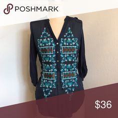 Anthropologie top Embroidery detail. 3/4 sleeve. Fitted Tops Button Down Shirts