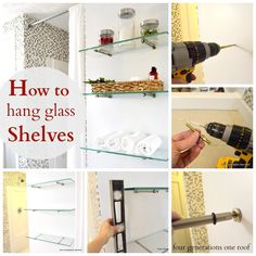 See how to hang glass shelves using bingo brackets on a bare wall. {picture tutorial}