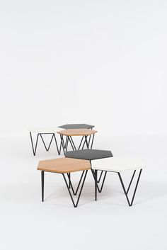 Enameled Metal and Laminated Wood Modular Coffee Tables for I. Enameled Metal and Laminated Wood Modular Coffee Tables for I. Modular Furniture, Table Furniture, Modern Furniture, Furniture Design, Coffee Table Design, Coffee Tables, Hexagon Coffee Table, Wood Laminate, Furniture Inspiration