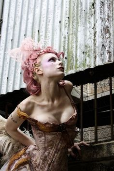 Emilie Autumn and a lovely corset, and curly pink hair. Burlesque, Steampunk, Cosplay, Showgirls, Marie Antoinette, Pink Hair, Fairy Tales, Fashion Photography, Conceptual Photography