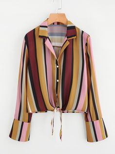 SheIn offers Knot Front Bell Cuff Striped Blouse & more to fit your fashionable needs. Classy Outfits, Beautiful Outfits, Trendy Outfits, Girls Fashion Clothes, Fashion Outfits, Clothes For Women, How To Make Clothes, Blouse Outfit, Stylish Dresses