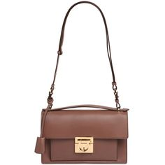 Salvatore Ferragamo Women Aileen Leather Shoulder Bag (20.314.420 IDR) ❤ liked on Polyvore featuring bags, handbags, shoulder bags, brown, leather shoulder bag, brown purse, white purse, shoulder handbags and shoulder strap bags
