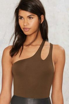 On the Double One Shoulder Bodysuit - Tops