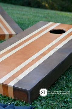 Stained Cornhole Game Boards - How to finish cornhole boards - paint easy stripes with @FrogTape