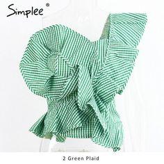 Simplee One Shoulder Blouse Shirt Tops Summer Irregural Striped Shirt Blouse Chemise Femme Elegant Ruffles Zipper Blouse