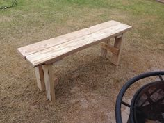New bench for around the fire pit. Out of wood scraps from past projects. Cost $0 for two benches...happy!