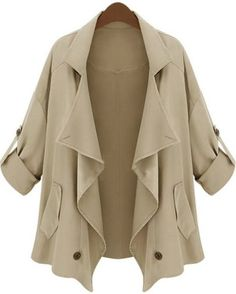 Khaki Lapel Half Sleeve Asymmetrical Pockets Outerwear - Wish this was available in plus size!