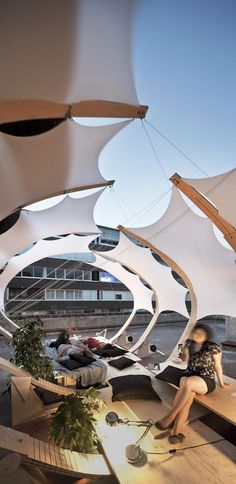 This pavilion completed by students at Fabric Structure, Shade Structure, Urban Furniture, Street Furniture, Urban Landscape, Landscape Design, Landscape Architecture, Architecture Design, Membrane Structure
