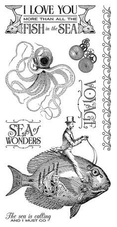 Graphic 45 - Voyage Beneath the Sea Collection - Cling Stamps 2