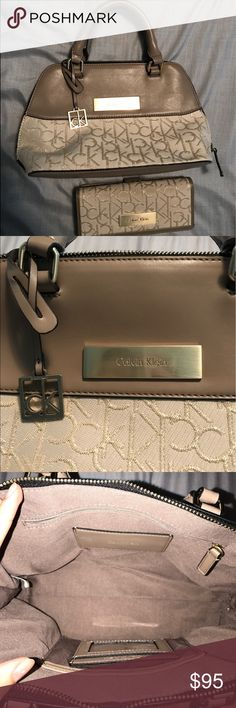 CALVIN KLEIN PURSE AND WALLET BUNDLE Tan/cream colored Calvin Klein purse with its matching wallet. The purse has been used twice and was bought separately from the wallet. Wallet has been used as seen in the pictures, but they're both in great condition! (NO TRADES, FINAL PRICE. CANNOT GO LOWER THAN WHATS LISTED) Calvin Klein Collection Bags