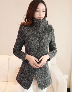 Elegant Lapel Slant Zip Pure Color Worsted Coat from lilystyle Hot Outfits, Winter Outfits, Fashion Outfits, Womens Fashion, Winter Clothes, Fashion Clothes, Wholesale Fashion, Wholesale Clothing, Shoes Wholesale