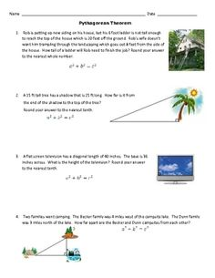 Pythagorean Theorem in Real Life ~ In the two page worksheet plus answer key, students must use the Pythagorean Theorem to figure out the missing leg or hypotenuse in real world prob...