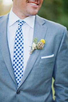 love this Groom's grey suit and blue plaid tie! Photography By / http://meganrobinsonblog.com,Floral Design By / http://fleurtationsfloral.com