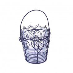 Black Wire & Glass Heart Design Votive Tea Light Holder - Four Designs