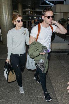 Kate Mara wearing Vans Classic Slip Ons and Celine Luggage Tote