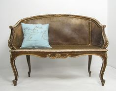 Antique French Gilt Double Cane Settee