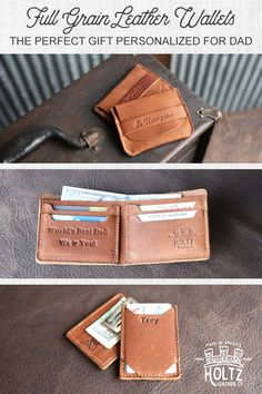 Find the perfect Father's Day gift among our wide selection of handmade leather wallets. We offer a variety of styles in black and brown leather. And each wallet can be personalized with your dad's name or initials. It's a gift he'll love and use for a lifetime.