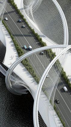 La estructura une el centro de la ciudad con las montañas de Zhangjiakou.