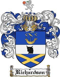 $7.99 Richardson Coat of Arms Richardson Family Crest Instant Download