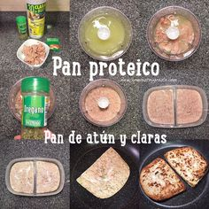 """Pan de atún (Pan proteíco) Tuna bread and clear """"fit"""" (protein bread). Healthy Low Carb Recipes, Healthy Nutrition, Real Food Recipes, Healthy Life, Keto Recipes, Healthy Eating, Yummy Food, Healthy Food, Paleo Diet"""