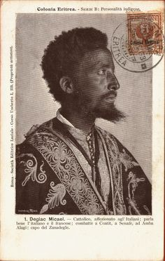 Deliac Micael Asmara, Eritrea. 1903. Postcard. Ethiopian Beauty, Polynesian Men, African Mythology, Black Royalty, Horn Of Africa, Eritrean, Africa Fashion, East Africa, African History