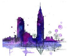 Print from original watercolor and pen doodle by Jessica Durrant, titled NYC in Transit no. 2. $22.00, via Etsy.