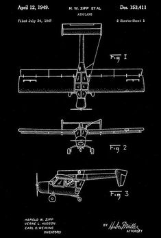 1949 - Boeing Airplane - H. W. Zipp - Patent Art Poster