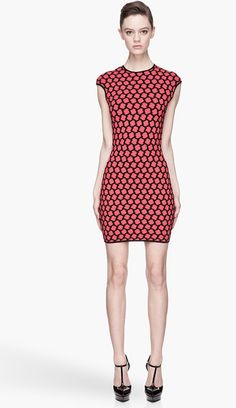 ALEXANDER MCQUEEN Red and Black Knit Honeycomb Jacquard Dress - Lyst