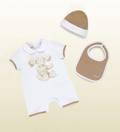 302780b259f nwt new gucci baby boys girls beige 3pc romper bib beanie hat gift box set  12 18 from  189.0