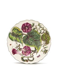 CHELSEA PORCELAIN 'HANS SLOANE' BOTANICAL PLATE CIRCA 1755 boldly painted with a sinuous spray of large-leafed convolvulus and two winged insects within the shaped brown-edged rim