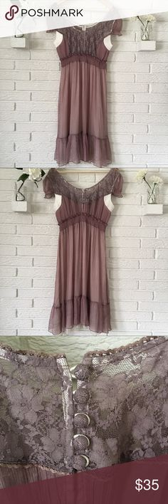 🎉CCO🎉 Silk Almost Famous Sheer Dress Adorable 100% silk dress by Almost Famous. This is sheer, would be great with nude bodysuit or slip. Elastic waist and lace detailing in front. Button back. No size tag, so please double check measurements as size listed is a guess! Great condition! *Measurements will be updated tomorrow!* Almost Famous Dresses Midi