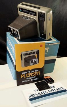 Kodak Pleaser TrimPrint Instant Camera is in the original box and has manual it's Used and Vintage #Kodak