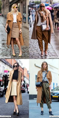 Blue is in Fashion this Year Outfits Otoño, Casual Outfits, Fall Winter Outfits, Camel Pants Outfit, Trent Coat, Rainy Day Outfit For Work, Camel Style, Monochrome Outfit, Estilo Fashion