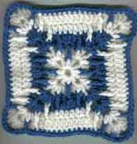 6, 7 and 8 inch squares - patterns downloadable on site.