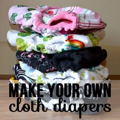 Tutorial and pattern for making your own cloth diapers. These diapers feature cute cotton and knit prints on the outside, a hidden layer of moisture-resistant fleece and an inner layer of luscious cotton velour. AI2 style with snap in or lay in inserts.