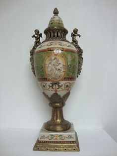 Large Decorative Urns With Lids Fascinating Cherub Floral Handle Hand Painted Porcelain Or Ceramic Table Lamp Inspiration
