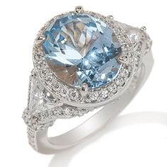 HSN Victoria Wieck Sterling 6.62ct Absolute & Simulated Aqua Pave Ring 8 710B #VictoriaWieck #Fashion #Christmas