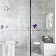48 Wonderful Marble Bathroom Designs : 48 Luxurious Marble Bathroom Designs With Glass Shower White Bathroom Wall Chair Towel Flower Decor And Carpet And Ceramic Floor Marble Tile Bathroom, White Marble Bathrooms, Marble Showers, Marble Tiles, Glass Showers, Marble Floor, Subway Tiles, Tiled Showers, Honed Marble